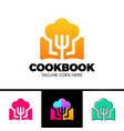 recipe book logo template design design vector image