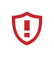 red warning shield icon on a white background vector image vector image