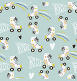 Seamless childish pattern with colorful roller