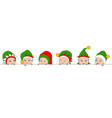 set christmas elfs children babies in irish hats vector image