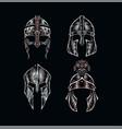 set warrior helmets vector image
