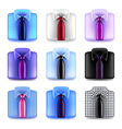 Shirt with tie icons set vector image
