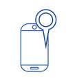 silhouette smartphone technology with magnifying vector image vector image