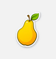 sticker pear with stem vector image vector image