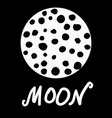 stylized moon with craters and lettering on vector image