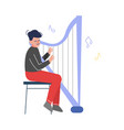 teen boy playing harp musical instrument young vector image vector image