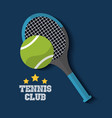 tennis club racket and ball sport vector image