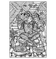 the fool engraved fantasy vector image vector image