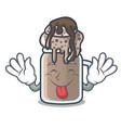 tongue out milkshake mascot cartoon style vector image vector image