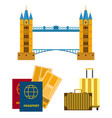 travel icons flat tourism vacation place vector image vector image