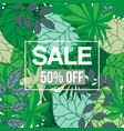 tropical jungle foliage with sale text vector image vector image