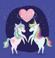 unicorns with rainbow mane heart love fantansy vector image vector image