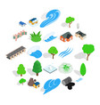 urban landscape icons set isometric style vector image vector image
