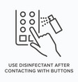 use disifectant after contacting buttons flat line vector image vector image