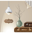 vintage interior with suitcases and lamp vector image vector image