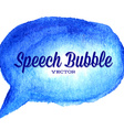 watercolor drawn blue speech bubble vector image vector image