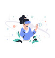 woman in vr glasses vector image
