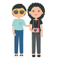 young couple with camera photographic urban style vector image
