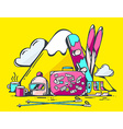 pink suitcase and winter travel accessori vector image