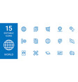15 world icons vector image vector image