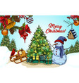2018 happy new year and christmas card vector image vector image