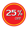 25 off discount price tag isolated vector image vector image
