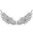 black and white hand-drawn wings vector image vector image