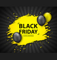 black friday sale discount banner with balloons vector image vector image