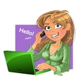 Blond woman with phone and laptop vector image