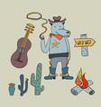 boho collection with volf cowboy vector image vector image
