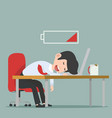 businessman character sleeping with battery at vector image vector image