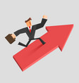 businessman run on a growing arrow success vector image vector image