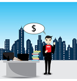 Businessman thinking to money in the office vector image vector image