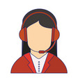call center agent with headset blue lines vector image vector image