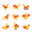 cartoon characters happy hens set vector image vector image