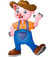 cartoon little farmer pig waving hand vector image