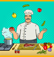 chef juggles with vegetables pop art vector image vector image