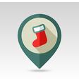 Christmas socks flat pin map icon vector image vector image