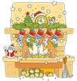 Christmas socks over the fireplace vector image vector image