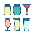 cocktails color set summer drinks milkshakes and vector image