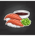 color sticker Sake Nigiri Sushi vector image