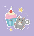 cute cat with coffee and cupcake kawaii characters vector image