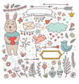 cute valentine set - funny bunny and doodles vector image