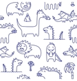 Dino ink doodles seamless pattern vector image