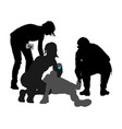 doctor rescue patient man first aid silhouette