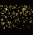 falling gold snowflakes golden snowfall new year vector image