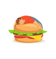 fat obese man sleeping on a giant burger bad vector image