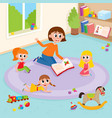 flat girls and teacher at carpet vector image vector image