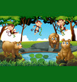 forest scene with bears and monkeys vector image vector image
