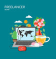 freelancer work flat style design vector image vector image